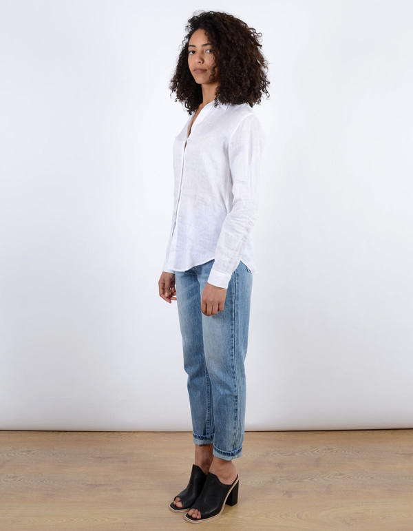 Assembly Label Linen Long Sleeve Shirt White