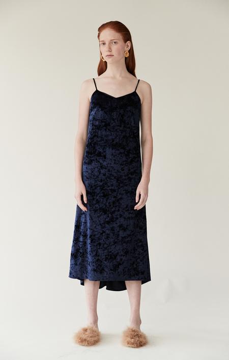 Mijeong Park Crushed Velvet Slip Dress - Blue