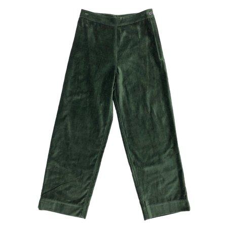 Ali Golden Side Zip Velvet Pant - Hunter