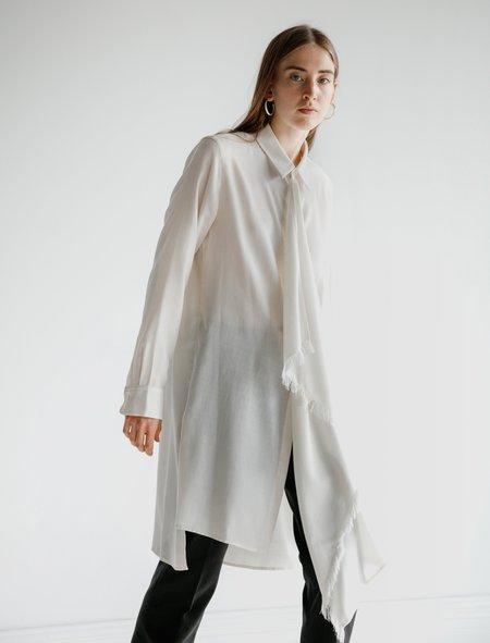 Ys by Yohji Yamamoto Fringed Scarf Shirt - Cream