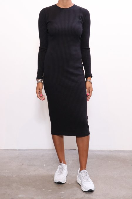 RE/DONE 90s L/S Ribbed Dress - Black