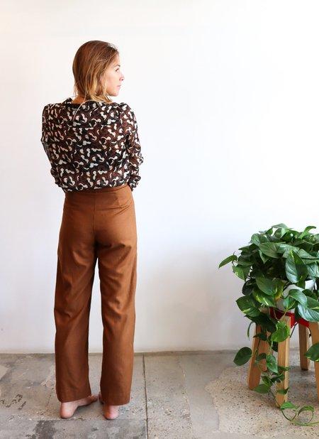 Ali Golden Silk Fly Front Pants - Copper