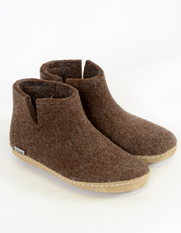 Glerups Men's Wool Boot Leather Sole Brown