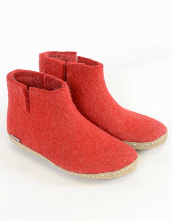 Glerups Women's Wool Boot Leather Sole Red