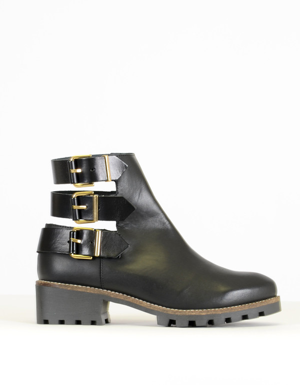 Miista Cecilia Back Strap Ankle Boot Black