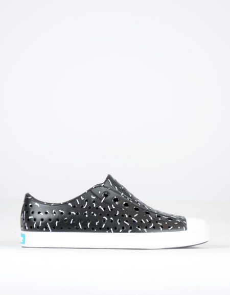 Native Shoes Native Jefferson Jiffy Black with Shell White Tik Tak Print