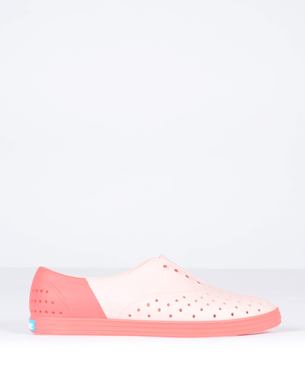 Native Shoes Native Jericho Block Pucci Pink with Snapper Red