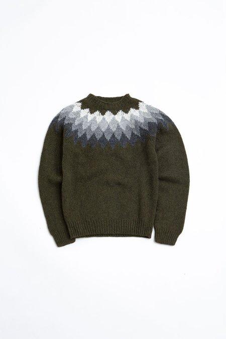 Officine Generale argyle yoke Seamless neck Sweater - olive/grey