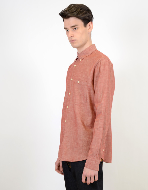 Men's Nudie Stanley Chambray Shirt Red