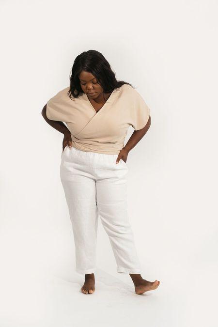 Two Fold Clothing Clara Short Sleeve Raw Silk Top - Sand