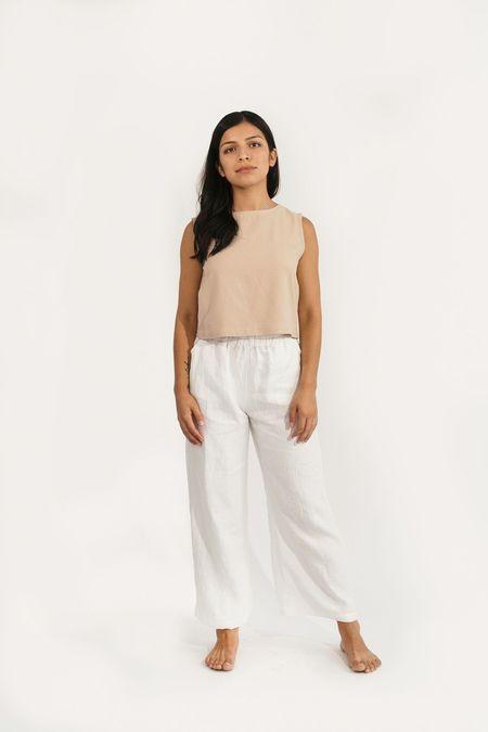 Two Fold Clothing Harris Regular Wide Leg Linen Pant - Ivory