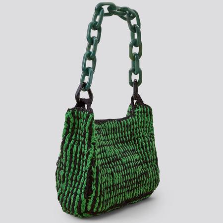 Rachel Comey Flat Praia Clutch - Green Multi Crochet
