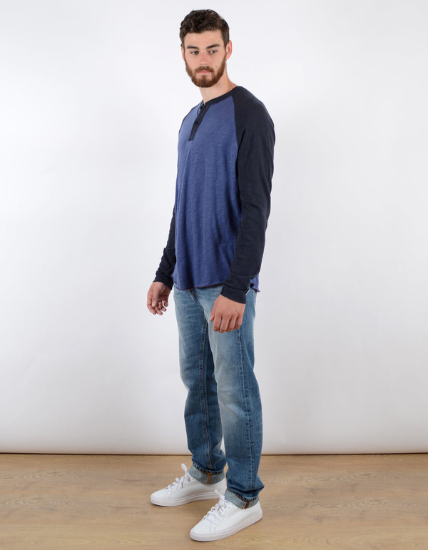 Men's Todd Snyder x Champion Colourblock Henley Washed Royal