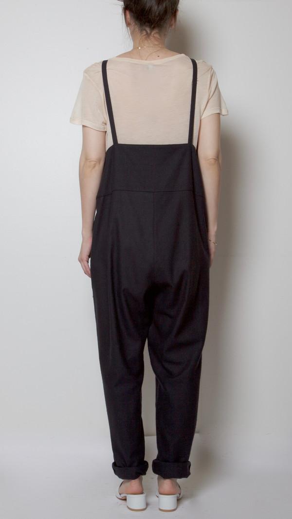 Baserange Long Strap Overalls in Black