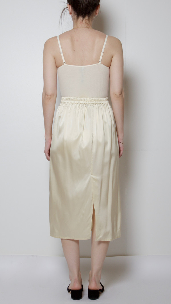 Baserange Silk Satin Jogging Skirt in Mushroom