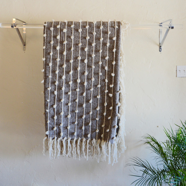 Mexchic Palomita Hand Loomed Blanket in Grey