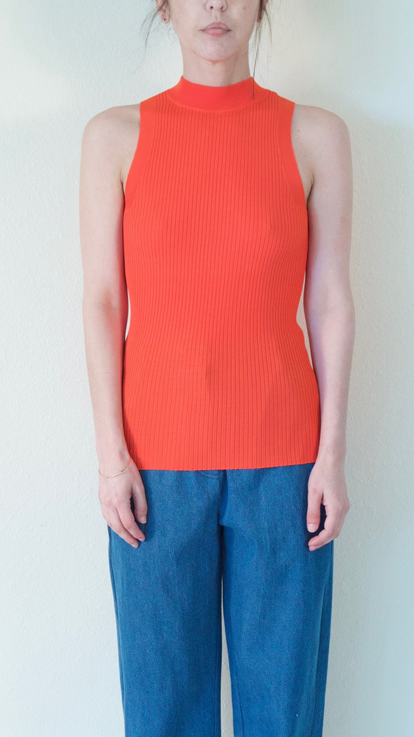 Pari Desai Nikita Mock Neck Tank in Persimmon