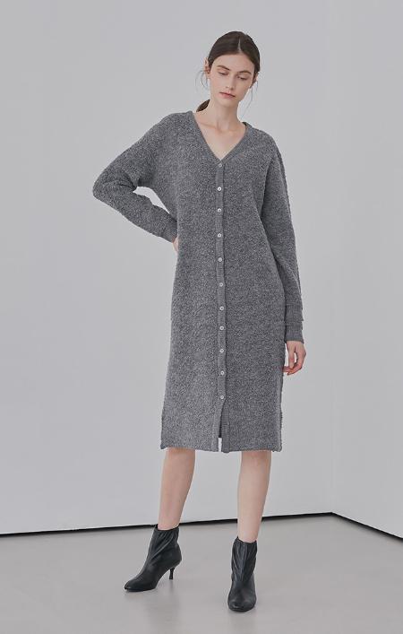 AMONG Boucle Dress Cardigan - Grey