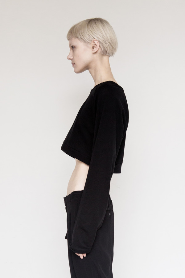 David Michael Cotton Cropped Sweater - Black