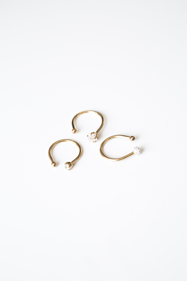 Jorge Morales Set of 3 Brass Gold Plated Rings