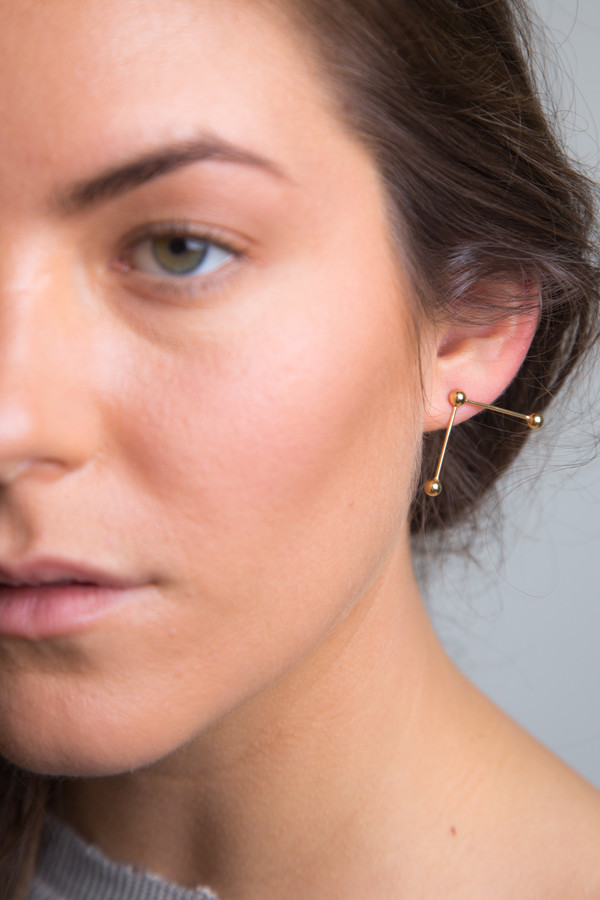 Katrine Kristensen - Gold Double Sunray Earring Single