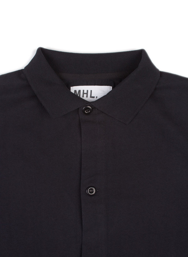 Men's MHL Margaret Howell Polo Shirt Dry Cotton Jersey Black