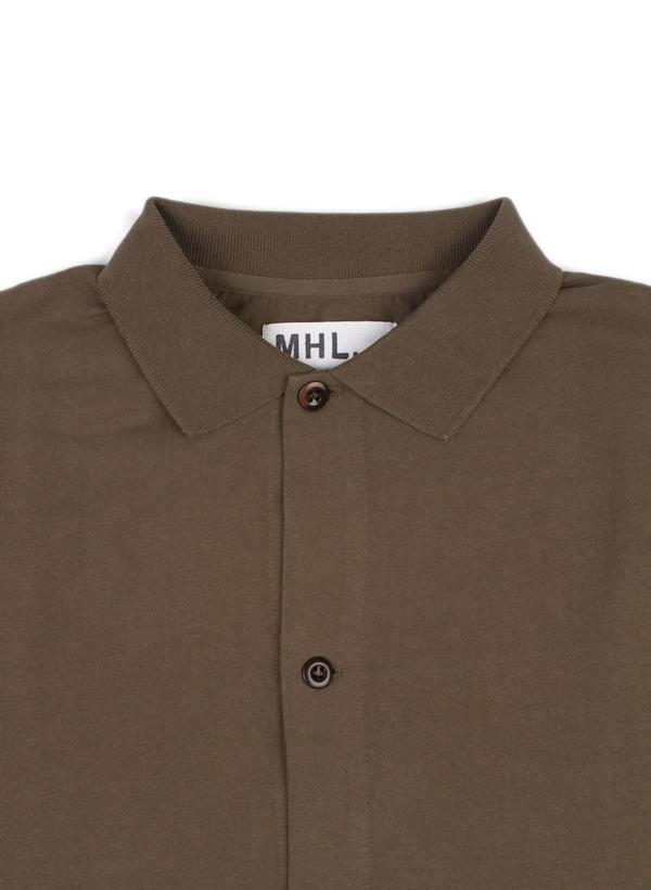 Men's MHL Margaret Howell Polo Shirt Dry Cotton Jersey Khaki