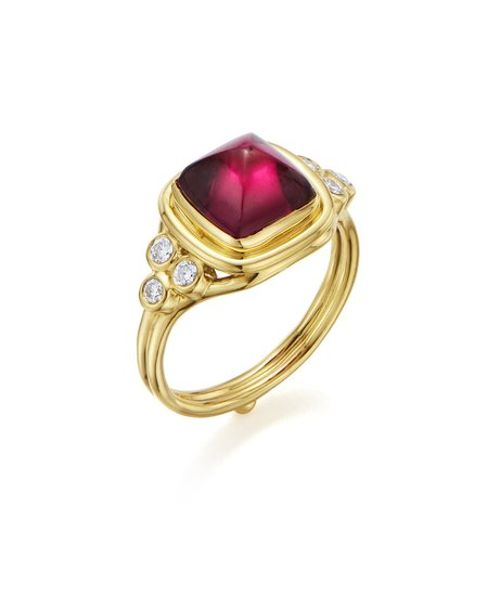 Temple St. Clair Classic Sugar Loaf Ring with Rubellite and Diamonds - 18K Yellow Gold