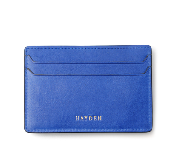 Hayden Leather Blue Money Clip Card Case