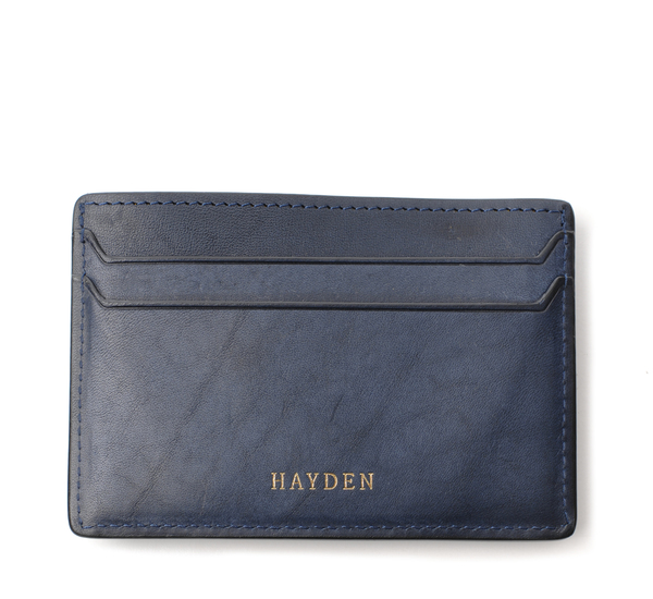 Hayden Leather Navy Money Clip Card Case