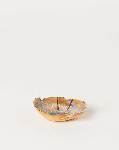 Minh Singer Mini Iceland Dish with Gold Lines - Blue/Pink
