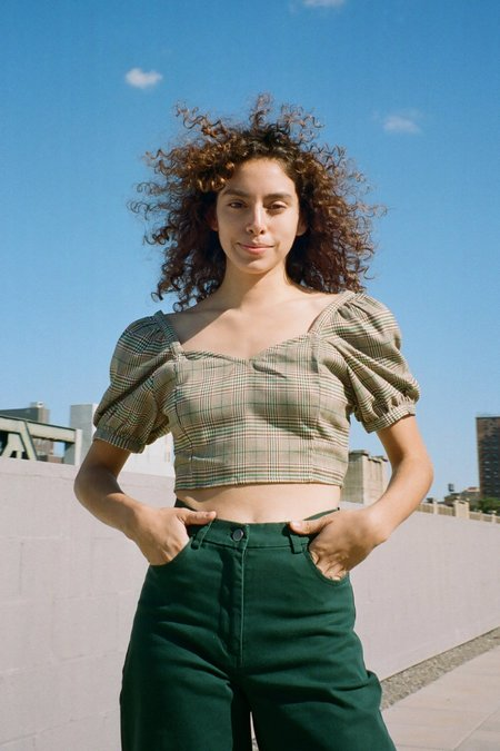 Samantha Pleet Poem Blouse - Green Plaid Wool