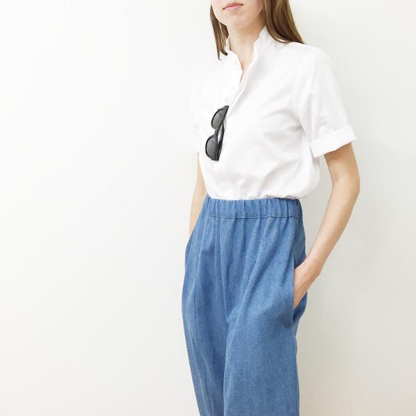Shelby Steiner White Mandarin Collar Shirt