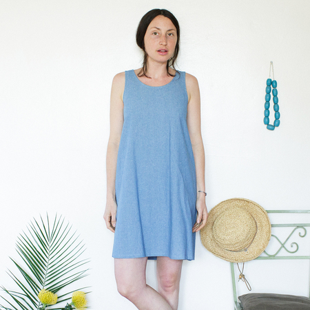 Me & Arrow Basic Tank Dress - Lt. Indigo Chambray