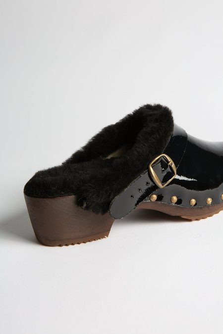 Bosabo Sheepskin Lined Patent Leather Clog - Black