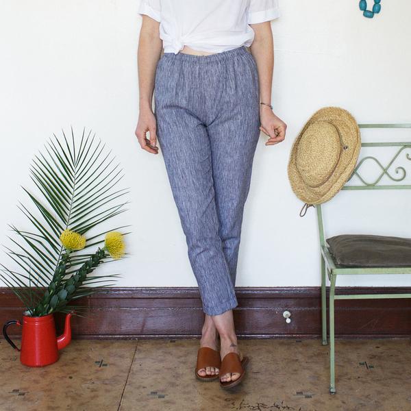 Me & Arrow Cuff Slim Pants - Black Bark Stripe