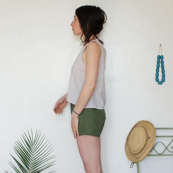 Me & Arrow Basic Short Tank Sand Stripe