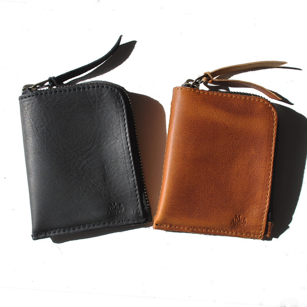 Unknown Zipper Wallet<br>Oiled Leather Black<br>RE-STOCK