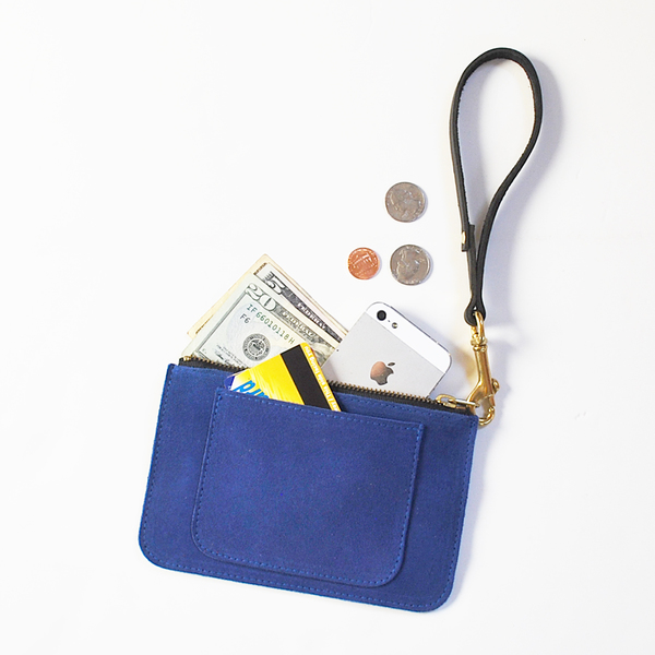 Unknown All-in-One Pouch/Wallet <br>Blue or Red Suede with Veggie Strap<br>