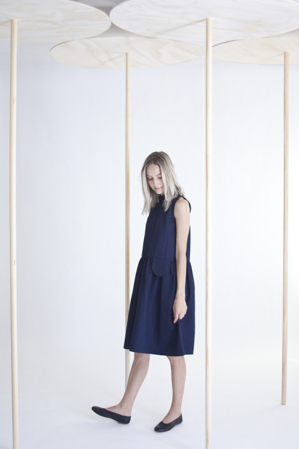 wrk-shp Navy Pocket Dress