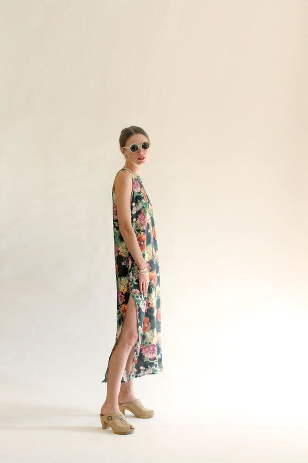 Strathcona Long Silk High Neck Dress in Watercolour Bouquet