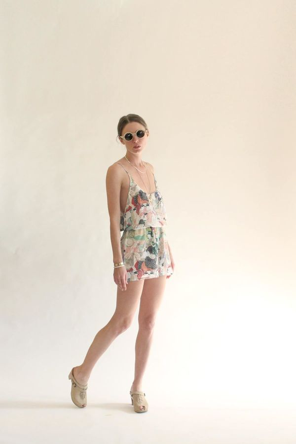 Strathcona Breezy High Waisted Silk Short in Japanese Lover