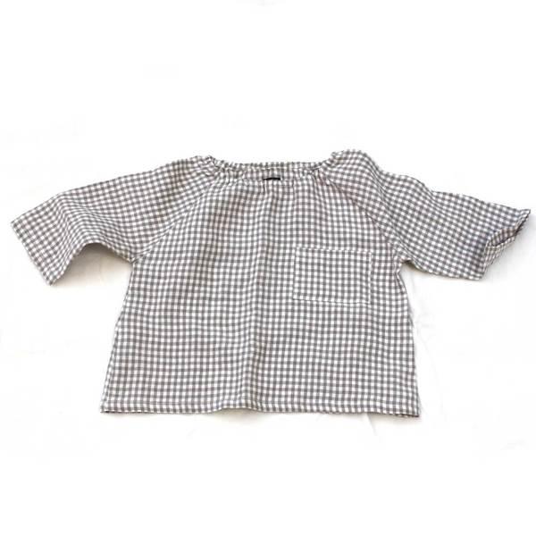 pietsie Marais Shirt in Biscuit Check Linen