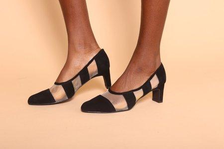 """INTENTIONALLY __________."" Art Suede Heels - Black/Natural"