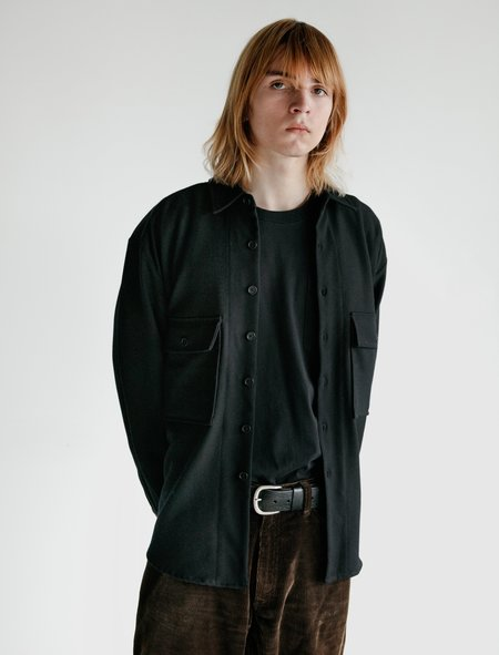 Evan Kinori Worsted Wool Serge Big Shirt - Black
