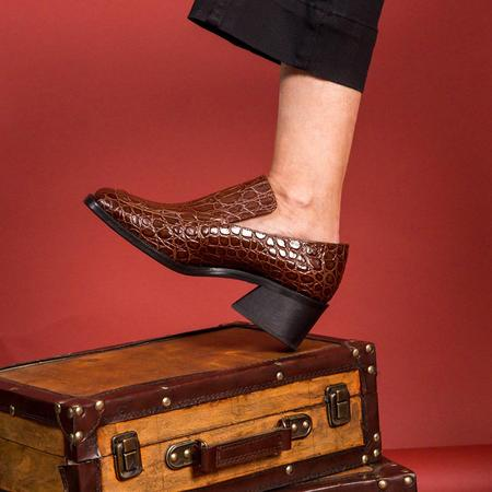 Suzanne Rae Wide Toe Loafer - Brown Faux Croc