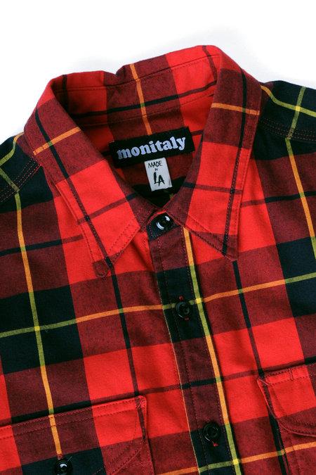 Monitaly Triple Needle Shirt - Red Stewart Tartan Plaid