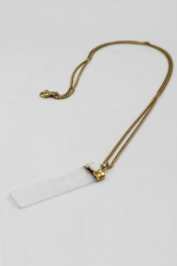 Sheila B Selenite Tassel Pendant Necklace