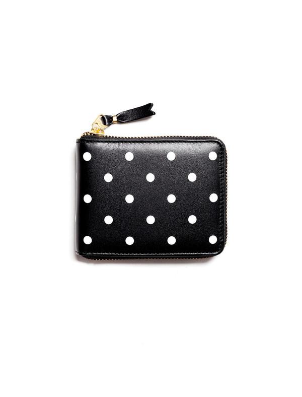 Comme des Garcons Polka Dots Printed Small Full Zip Wallet - Black