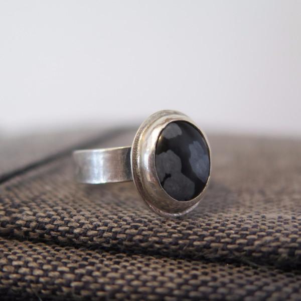 Gem spell snowflake Obsidian Ring